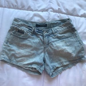 Light washed blue denim shorts